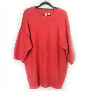 Moth | Anthro Bright Coral Oversized Boxy Sweater